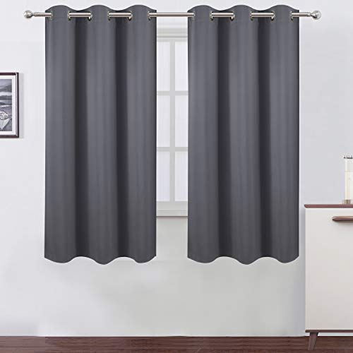 LEMOMO Grey Thermal Blackout Curtains/42 x 63 Inch/Set of 2 Panels Room Darkening Curtains for Bedroom