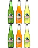 Jarritos Mexican Soft Soda Drink Grapefruit x2, Mandarin x2, Lime x2 - Variety Pack! 12oz Glass Bottle (Pack of 6, Total of 72 Fl Oz)