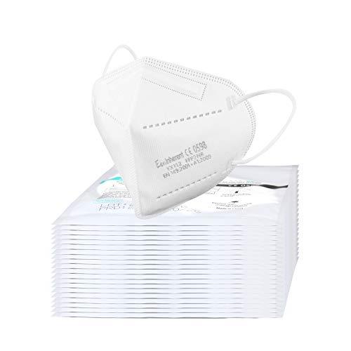 20x FFP2 Atemschutzmaske CE 2163 Zertifiziert nach EN149: 2001 + A1: 2009, Faltbare Halbmasken mit Nasenbügel und elastischen Ohrschlaufen, Yinhong