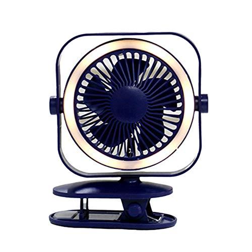 KingbeefLIU Luz De Noche Mini USB Giratorio Recargable LED Luz De Noche Oficina En Casa Escritorio Clip En Ventilador Azul