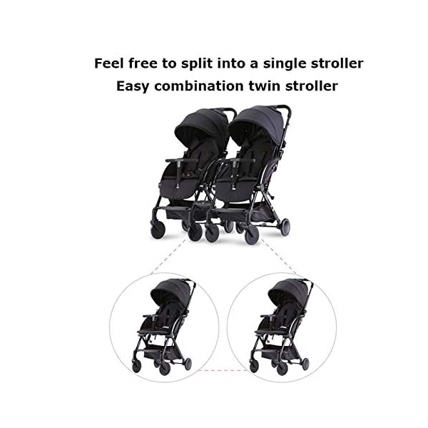 JXCC Double Strollers Baby Pram Tandem Buggy Newborn Pushchair with Adjustable Backrest- Black/Red -Safe And Stylish A JXCC 1. {Multi-angle adjustable}: You can sit down and adjust the angle from 0 to 175 degrees for all occasions. 2. {Light capsule car, detachable and separate}: Only 5.9kg, diamond car, can be on the plane, comfort zone baby, can be a single cart or can be combined into two cars 3. {Two-way implementation}: - Two-way implementation, switching parent-child mode 2