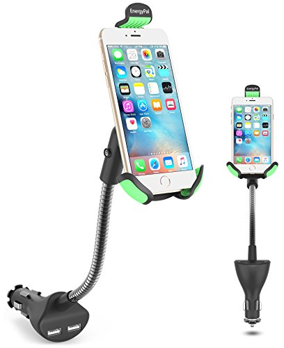Car Mount, EnergyPal HC84K Car Smartphone Holder with Dual USB 2.1A Charger With Over Charge and Over Current Protection ( Renewed )