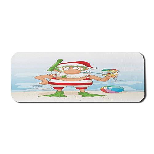 Weihnachten Computer Mouse Pad, lustige Gekritzel des Weihnachtsmannes auf tropischen Sommerferien Flossen Schnorchel Cocktail, Rechteck rutschfeste Gummi Mousepad große mehrfarbig