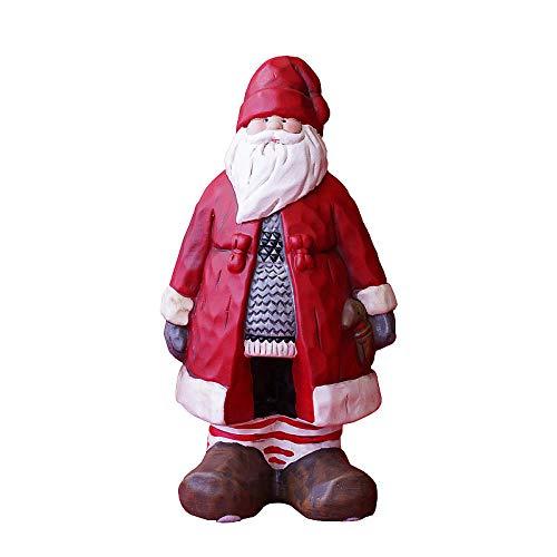 RSRZRCJ Ornamento Statua Statua di Scultura Pallina di Natale Decorazione retrò Dipinta A Mano di Babbo Natale Grande Decorazione del Giardino
