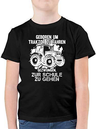 Fahrzeuge Kind - Geboren um Traktor zu Fahren - 164 (14/15 Jahre) - Schwarz - geboren zum Traktor Fahren gezwungen zur Schule - F130K - Kinder Tshirts und T-Shirt für Jungen
