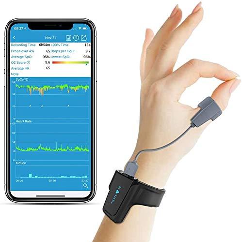 Monitor de oxígeno para dormir con alarma de vibración para ronquidos y apnea del sueño, oxímetro de muñeca con aplicación en español, compañero perfecto para la máquina CPAP