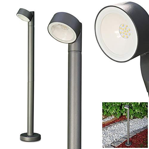 LED buitenlamp Klede, moderne padverlichting van gegoten aluminium in antraciet met glazen schijven, verstelbare vloerlamp 81 cm, tuinlamp met 11 watt, 850 lumen, lichtkleur 4000 Kelvin, IP54