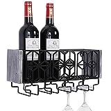 Satauko Estantería de Vino de Pared de Metal para 4 Copas de Vino Tinto Almacenaje, Estante de Vino Montado en la Pared para Organizador de Cocina, Botelleros Vino Accesorio para Sala de Estar.