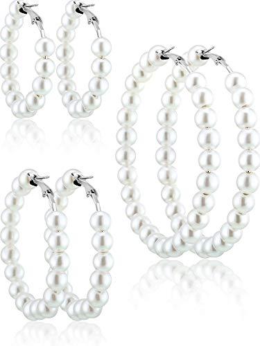 Künstliche Perle Creolen 3 Paar Perlen Ohrringe für Frauen Mädchen Bräute Geschenk (Silber Ohrringnadel)