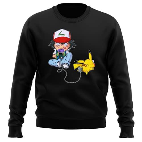 Okiwoki Pull Noir Parodie Pokémon - Pikachu et Sasha - Batterie de Secours (Super Deformed) (Sweatshirt de qualité Premium de Taille 3XL - imprimé en