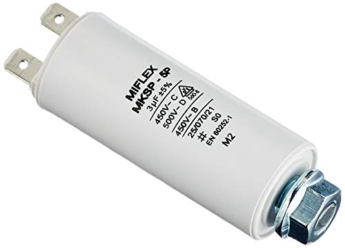 Miflex Condensateur de démarrage Condensateur Moteur 3µF 450V 25x58mm connecteurM8 3µF