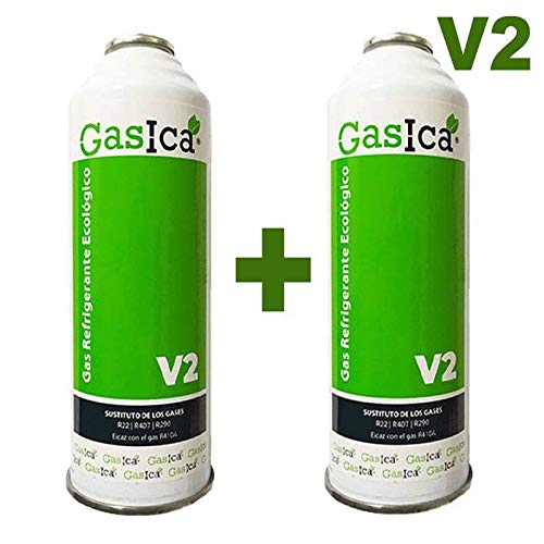 REPORSHOP - 2 Botellas Gas Ecologico Gasica v2 255Gr Sustituto R22/R407C/R410A Freeze