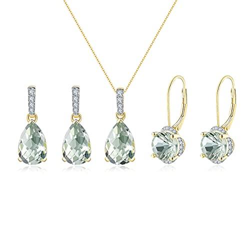 Lohaspie - Juego de joyas para mujer, 14 quilates de piedras preciosas naturales amatistas, pendientes de oro amarillo, collar de boda y pendientes, regalo de cumpleaños para mujeres y niñas