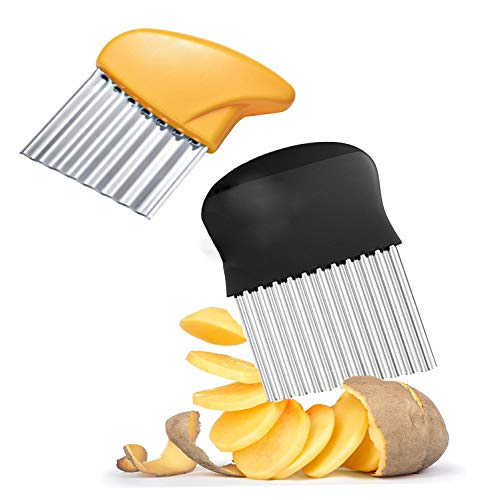 2 cortadora de verduras trituradora de acero inoxidable Prensa patatas, cortadora de patatas, trituradora de patatas para boniatos y frutas o verduras (amarillo + negro)