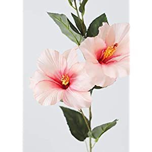 Afloral Hibiscus Silk Flower Spray in Light Pink – 31″ Tall x 5″ Blooms