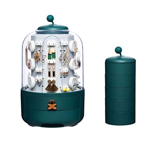 Teeyyui Organizador de joyas giratorio, caja de almacenamiento de joyería de torre redonda con 39 ganchos, collar, pulsera, anillo, aretes, pequeños objetos para niñas y mujeres (01, verde)