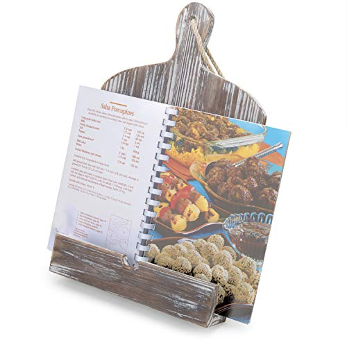 MyGift Rustic Farmhouse Torched Wood Cookbook iPad Holder with Kickstand