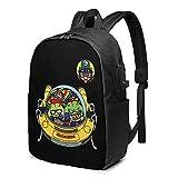 XCNGG King Nikochan Dr Slump School Bag Mochila para portátil Mochila de Viaje Mochila USB (17 Pulgadas)