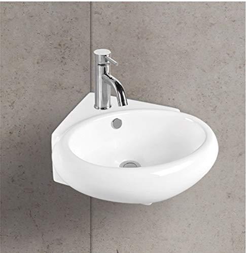Art-of-Baan® Aufsatzwaschbecken Waschbecken Klein Mini Hochglanz Eckwaschbecken kleines Bad weiß, 370 * 390 * 135 mm mit Lotus Effekt (DBY-541)