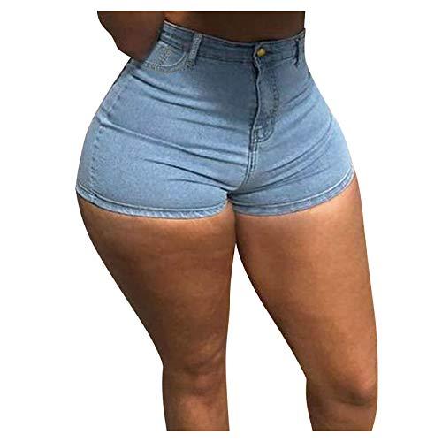 WUAI Plus Size Denim Shorts for Women High Waist Ripped Jean Shorts Stretchy Summer Beach Hot Short Skinny Jeans(Blue 2,XX-Large)