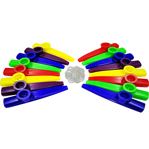 Fartime 16Pcs Plastic Kazoos With 20Pcs Kazoo Flute Diaphragms,Musical Instruments,Good Gift for Kids,A Good Companion for Ukulele, Violin, Guitar,Piano Keyboard.