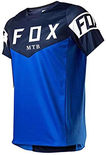 Jersey de Bicicleta de montaña Fox, Ropa de Ciclismo para Hombres, Camisetas de Descenso para Hombres de Manga Corta MTB Fox Camisetas de Bicicleta de montaña Offroad Dh Jersey de Motocicleta M