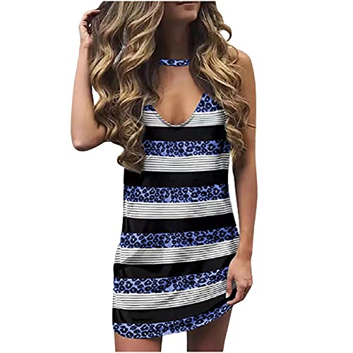 AMhomely Women Dresses Sale Promotion Clearance Fashion Ladies V-Neck Printing Leopard Loose Casual T-Shirt Sleeveless Dress UK Size Party Elegant Dress Blue
