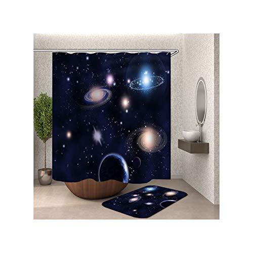Knbob Polyester Duschvorhang & Badezimmerteppich Set Weltraum Planet Bad Vorhang Badvorleger 180x200CM mit 12 Duschvorhangringen