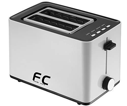 Family Care Tostadora de pan doble ranura, tostadora 850 W, función cancelar y descongelar, 7 niveles de tueste