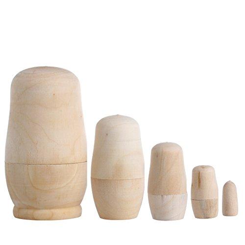 Yinuneronsty 5 x unbemalt, zum Basteln aus Holz, Leere Puppen, Matryoshka, Spielzeug, Geschenk