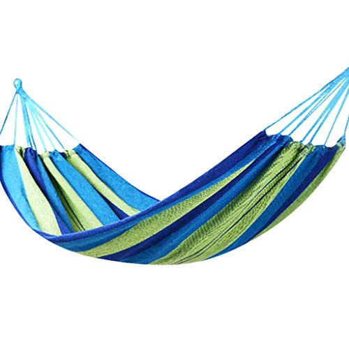 WFS Camping Hamaca Hamaca De Doble Hamaca Cama Grande Lienzo Hamacas Portátil para Camping Patio Interior Al Aire Libre cámping (Color : Blue)