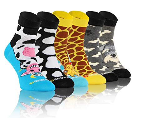 Sesto Senso Lustige Bunte Kurze Socken 3 Pack Süße Sneakersocken Baumwolle Hund Kuh Giraffe 39-42 3 Tiere
