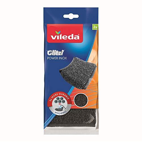 Vileda Glitzi Power Inox, Stahlschwamm gegen hartnäckige Verschmutzungen, länger haltbar, 2er Pack