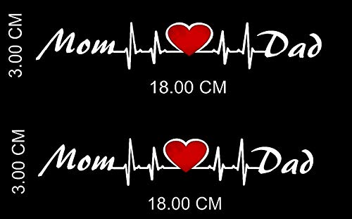 CVANU Car Sticker Mom Love Dad Sticker for Scooter Fascino/Activa/Royal Enfield Classic 350 500 Standard/Tank Side Meeter Back Side Decals (L x H 18.00 x 3.00 cm) P-3