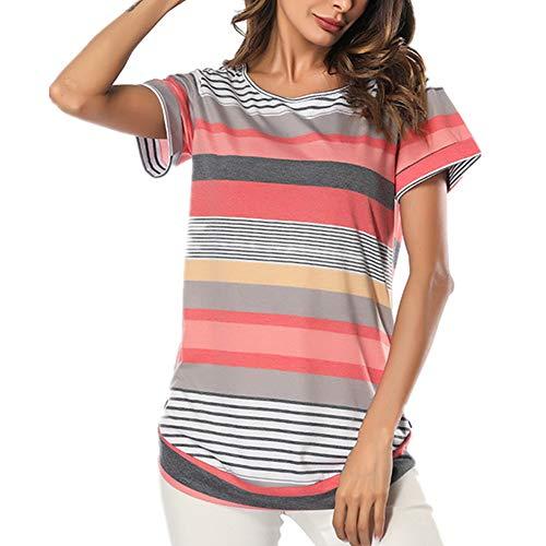 Lover-Beauty Camisetas Manga Corta Mujer Camiseta Escote V Rayas Chica Basicas Personalizadas Verano