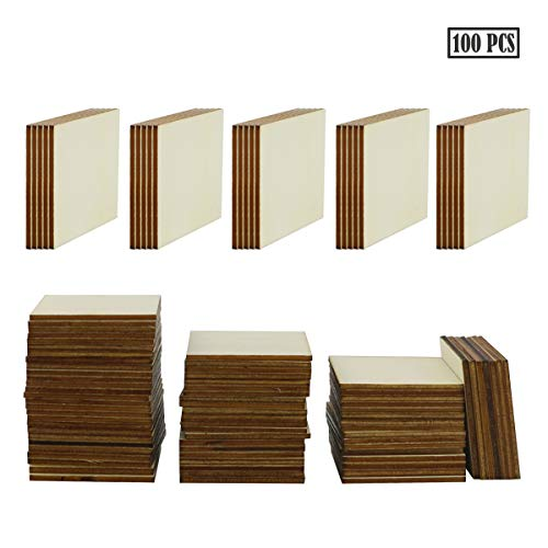 100PCS Unfinished Blank Wood Squares, Wooden Squares Cutout Tiles for DIY Arts Crafts, Handmade Wedding Ornaments, Centerpieces, Board Game Pieces, Ornaments for Book Signing.(5cm/2inch)