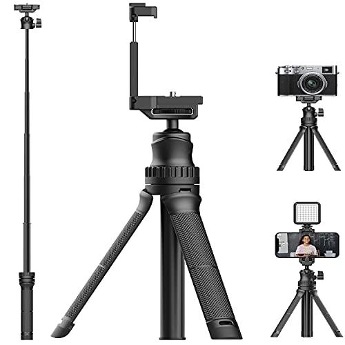 MT-34 Smartphone Treppiede Estensibile Mini Fotocamera Treppiede Desktop Leggero Supporto Vlog Treppiede Selfie Stick con 1 4  Telefono Impugnatura compatible per DSLR Luce Vlogging (supporto 1,5 kg)