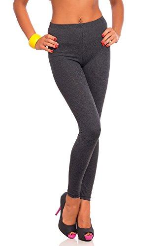 futuro fashion voller Länge Baumwolle Leggins alle Farben alle Größen aktiv-hose Sport Hosen - Graphit, 28( 6 XL)