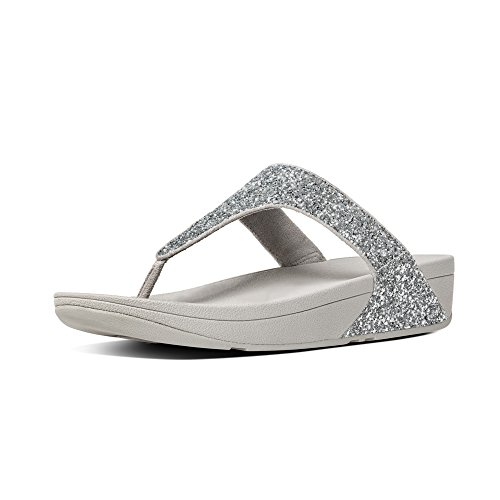 Fitflop Glitterball Post T-Strap Sandales pour Femme- argent - Silver (Silver Glitter), 39