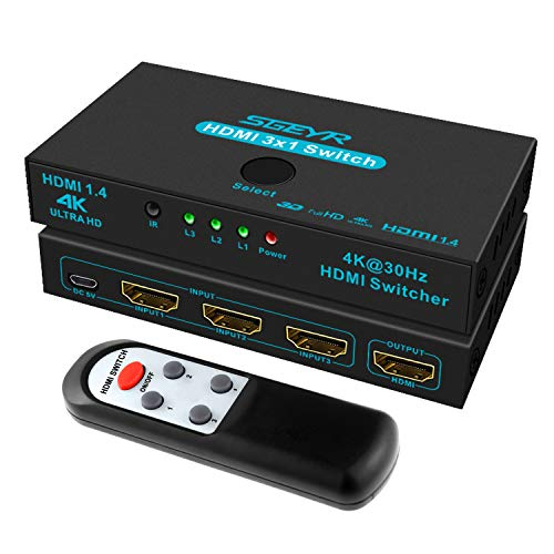 HDMI Switches SGEYR 3 Port HDMI Switcher 3 in 1 Out Metal HDMI Switcher Selector 3x1 with IR Remote Control HDMI Selector Box HDMI 1.4 HDCP 1.4 Support 4K@30Hz Ultra HD 3D 2160P 1080P
