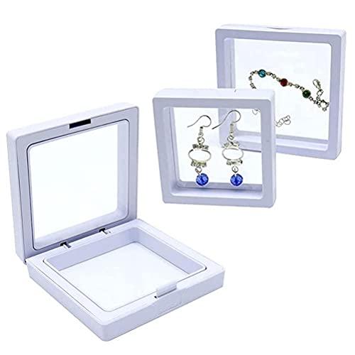 Dapuly 3D Schmuck Aufbewahrungsbox, 3PCS schwimmende Rahmen Display Brosche Münze Edelsteine Halter Show Case PE Film staubdichte Münze Chip Fall für Ausstellung