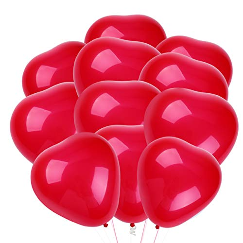 Toyvian 50pcs 10 Inch Latex Helium Balloons Heart Red Balloons for Valentines Day Wedding Birthday Party Decoration Supplies