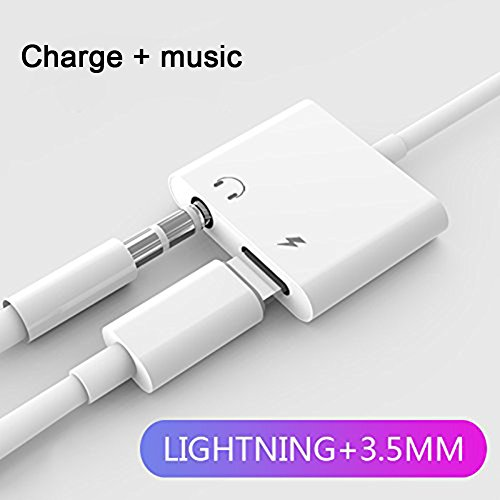Lightning Adapter Headphone for iPhone7/7Plus iPhone 8/8Plus iPhone X/10, 2 in 1 Lightning Jack Earphone to 3.5mm AUX Jack Adaptor Splitter CableS(Audio+Charge)Support iOS 11 or Later (White)