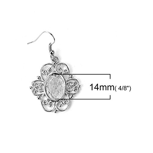 Earring Wire Hooks for 14mm x 10mm Cabochon Settings, 20 Pack (10 of Each) Antique Filigree Design for DIY Jewelry Making