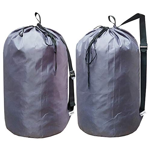 UniLiGis Laundry Bag Backpack with Strap Nylon Dirty Clothes Shoulder Bag with Drawstring Closure Tear Proof WashableLaundry Liners for TravelDorm RoomDia 15x27 inchesGrey 2Pack