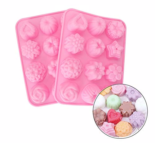 ESA Supplies 12 Cavities Flowers Soap Molds Silicone Chocolate Cake Bread Mold Ice Cube Jelly Candy Baking Mould 2 Packs