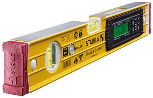 STABILA 17705 Elektronik-Wasserwaage TECH 196 electronic IP 65, 40 cm, mit 2 Digital-Displays und Wasserwaagen-Tasche