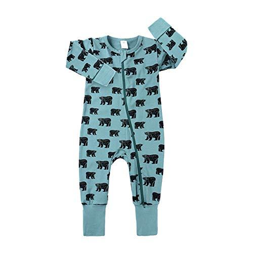 Mibuy Baby Onesies Mit Reißverschluss Weich Baumwolle Overall Langärmlige Schlafanzug Atmungsaktiv Drucken Strampelanzug 6-36 Monate