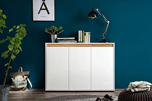 Newfurn Sideboard Kommode Modern Anrichte Highboard Mehrzweckschrank II 119x84x 35 cm (BxHxT) II [Sena.Three] in Weiß Dekor/Weiß Hochglanz Lack Wohnzimmer Schlafzimmer Esszimmer
