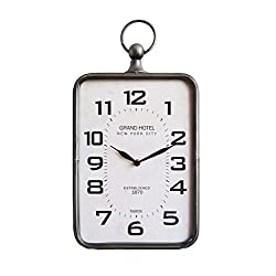 Creative Co-Op Metal Rectangle Hanging Clock with Handle Decoration on Top